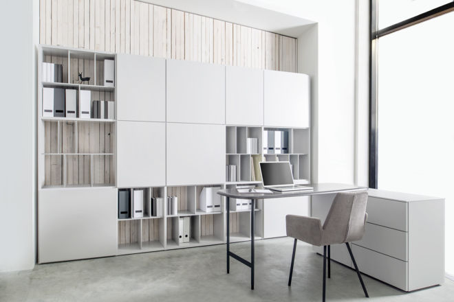 SUDBROCK Home Office Regalwand Stauraum Büro Inneneinteilung grau FOKUS Bücherregal