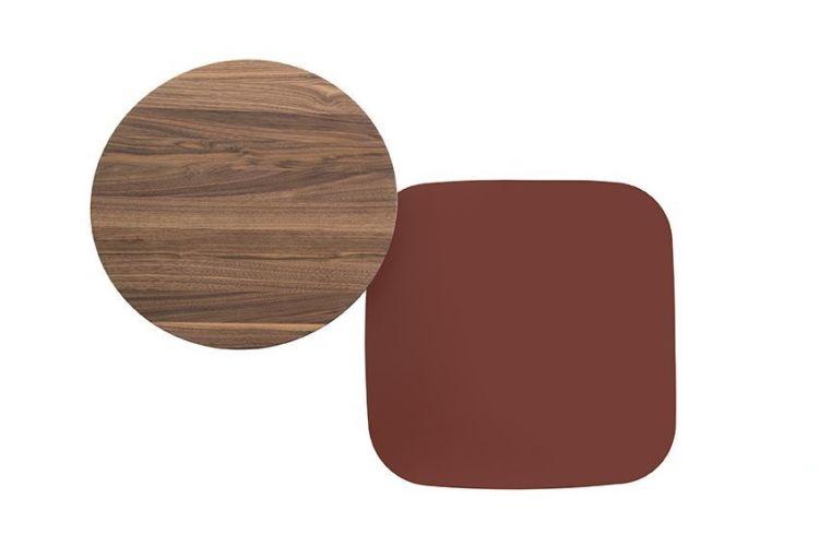 Sudbrock MELLINI Beistelltisch Tisch Couchtisch Nussbaum Lack ziegelrot rot