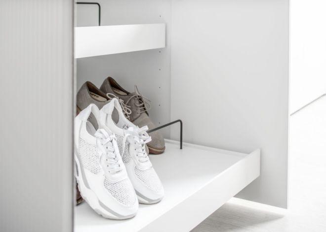 SUDROCK Schlafzimmer Kleiderschrank Schuhfach AuszugSchuhauszug weiß Drehtüren