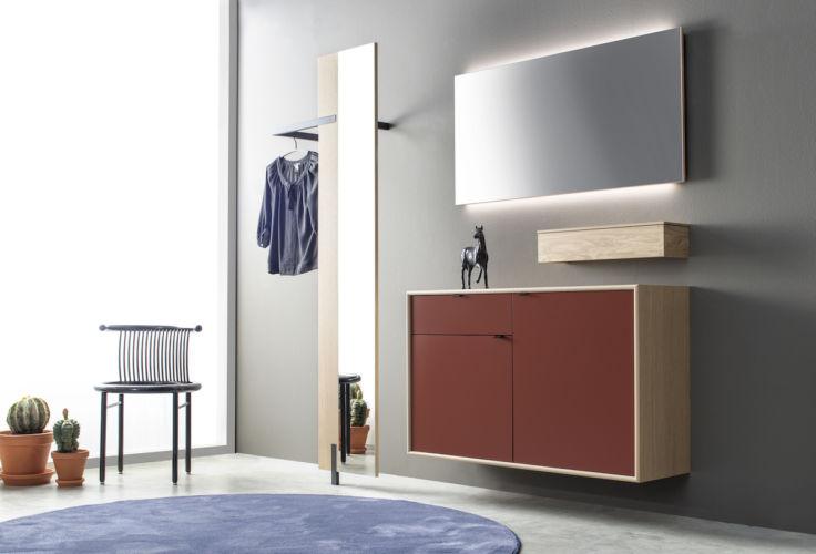 Garderobe Sudbrock PANAMA Wandgarderobe Hängekorpus wandhängend Eiche rot Spiegel Ablage Rahmenkante