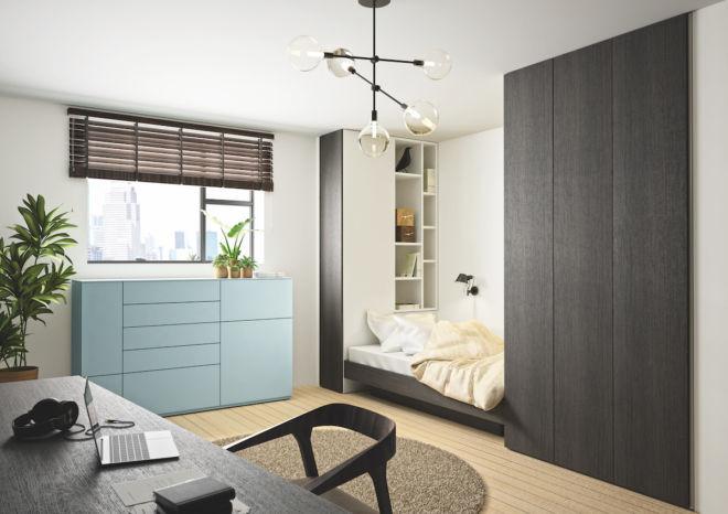Apartment Sudbrock Sideboard Highboard blau sky Kommode Schlafzimmer Bett Kleiderschrank Stauraum