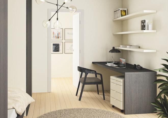 Sudbrock Schreibtisch Apartment Wandboarde Eiche braun schwarz Rollcontainer Abschrägung