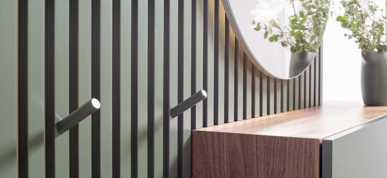 Sudbrock Cubo Beimöbel Kommode Sideboard grün braun Holz Lamellenpaneel Schubkasten schlafen Schlafzimmer