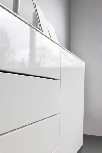 Sudbrock Miria Kommode Beimöbel Schlafzimmer schlafen Solitäre Einzelmöbel weiß hochglanz schubkasten