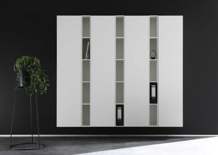 SUDBROCK Home Office Regalwand Stauraum Büro Inneneinteilung grau CUBO Bücherregal grün salbei