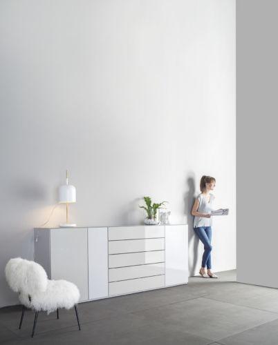 Sideboard Highboard Kommode Sudbrock weiß Hochglanz Glasabdeckblatt grau Lack Schlafzimmer schlafen Beimöbel weiß hochglanz
