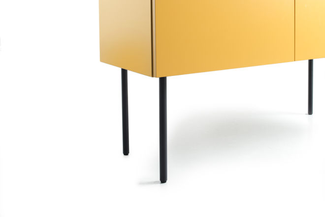 Sideboard Highboard Kommode gelb braun Füße Sudbrock Stellfüße