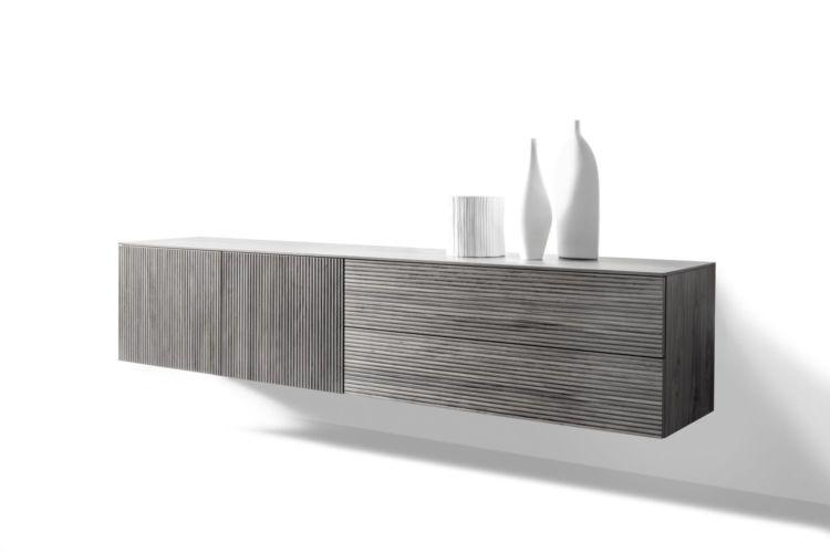 Sideboard Wohnzimmer Esszimmer Schlafzimmer hängend grau Eiche Kommode Hängeregal Hängekommode Holz