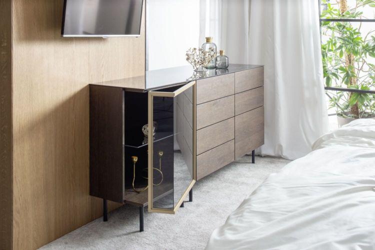 Schlafzimmer Kommode weiß Beimöbel Sideboard schlafen Marmor schwarz Marmoroptik Eiche dunkelbraun Metallfüße