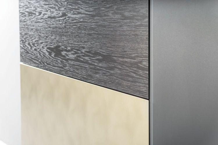 Sudbrock Wohnen Wohnzimmer Highboard Sideboard Eiche anthrazit Lack cosmos-schwarz Gold Stahl gebürstet Glasaufdopplung Doppelfuß