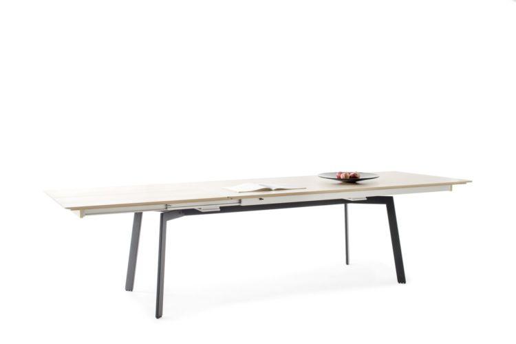 Sudbrock DANA Esstisch Tisch Synchronauszug Speisen Eiche milk Massiv Lack cosmos-schwarz