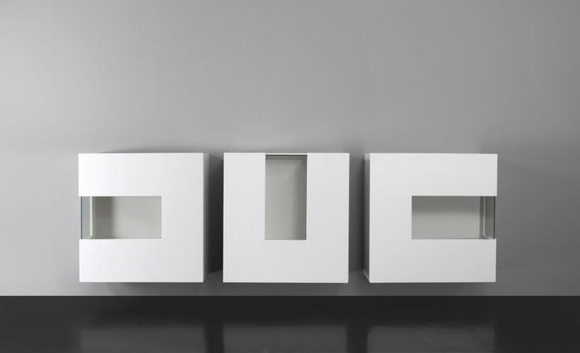 Sideboard Vitrinen Glas weiß Glasausschnitt Sudbrock hängend Glasvitrine