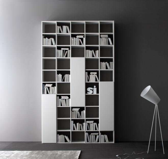 Regalwand weiß Fokus Sudbrock Regal Bibliothek Stauraum Home Office Bücherregal