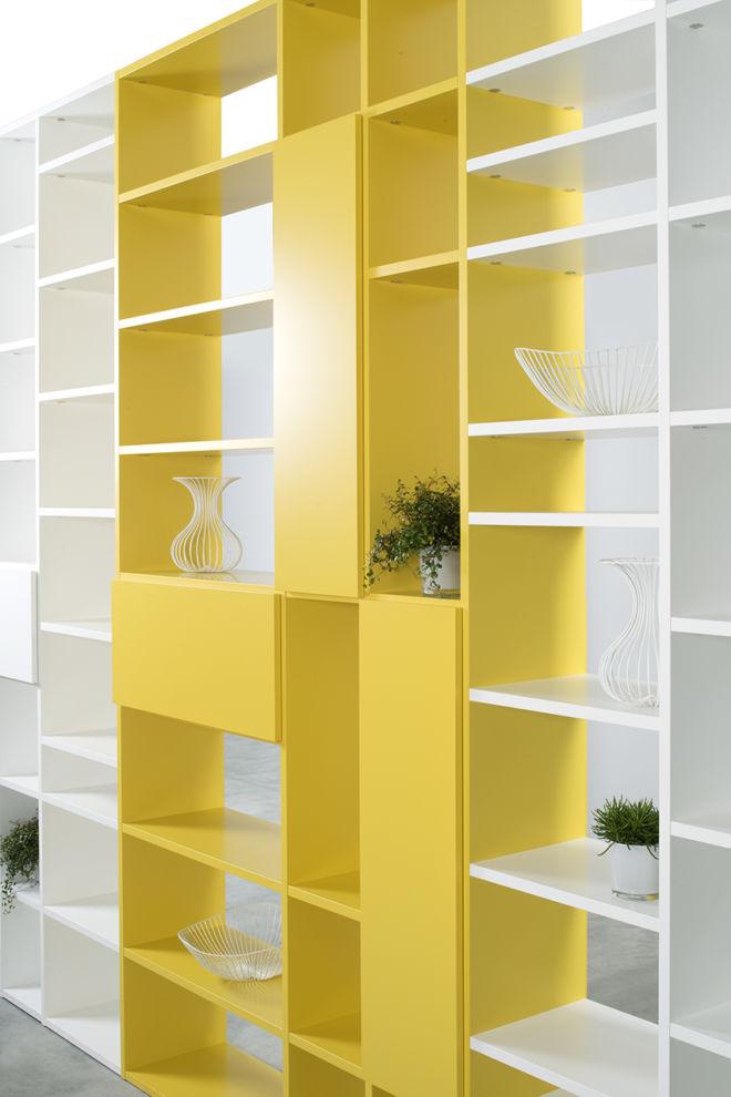 Wohnwand Lack Sudbrock gelb weiß verkehrsweiß Raumteiler raumhoch Fokus Sinus
