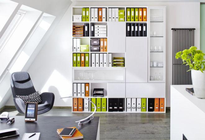 Regalwand weiß Cubo Fokus Sudbrock Regal Bibliothek Home Office Büro Stauraum Bücherregal