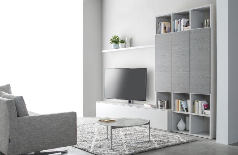 Regalwand weiß Cubo Fokus Sudbrock Regal Wohnwand Medienmöbel Stauraum Wohnzimmer