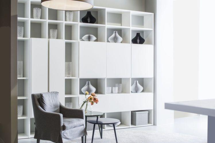 Regal Regalwand Fokus Sudbrock Esszimmer Speisezimmer Wohnzimmer weiß Bücherregal