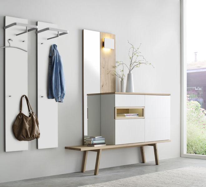 Garderobe Sudbrock Bank Garderobenpaneel Spiegel Fox weiß Flur Diele