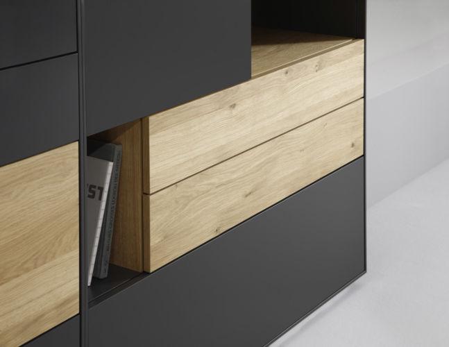 Sideboard Wohnzimmer Esszimmer Schlafzimmer stehend schwarz Lacke Kommode Wandregale Holz Eiche