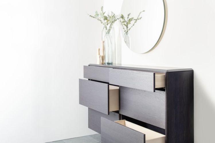 Sideboard Wohnzimmer Esszimmer Schlafzimmer hängend Spiegel braun Eiche Kommode Hängeregal Hängekommode Holz