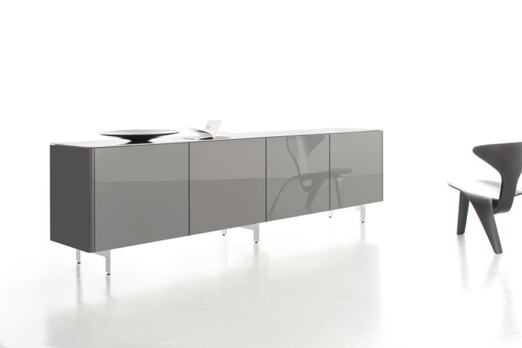 Sideboard Goya Eiche grau Hochglanz Esszimmer Schlafzimmer Sudbrock Kufen Metallfüße Kommode