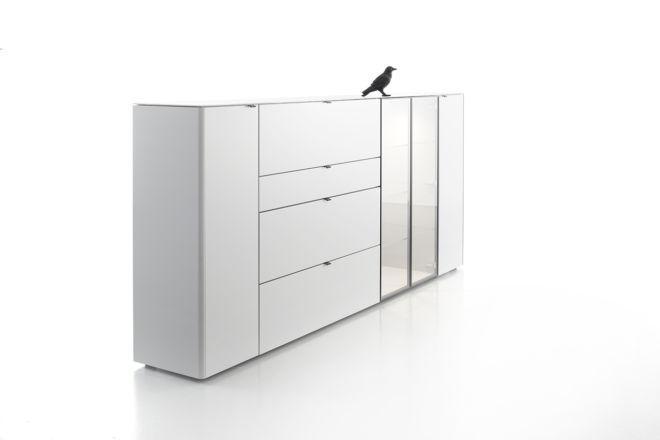 Sideboard Highboard Kommode weiß Sudbrock Goya grau bodenstehend weiß