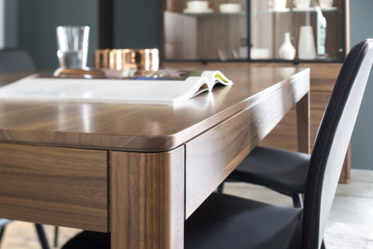 Esszimmer Speisezimmer Esstisch runde Ecken Essgruppe Sideboard Vitrine Standvitrine Alurahmentür Lack Holz massiv