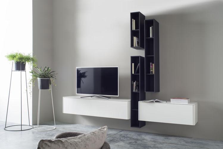 Wohnwand Sudbrock GOYA wandhängend weiß Eiche Hängeregale TV-Wand Lowboard
