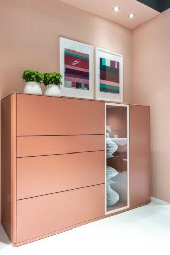 Sudbrock Highboard GOYA Alurahmentür Klarglas Glas samtbeere rosa rot
