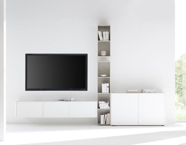 Wohnwand Sudbrock GOYA hängend weiß braun Hängeregale TV-Wand