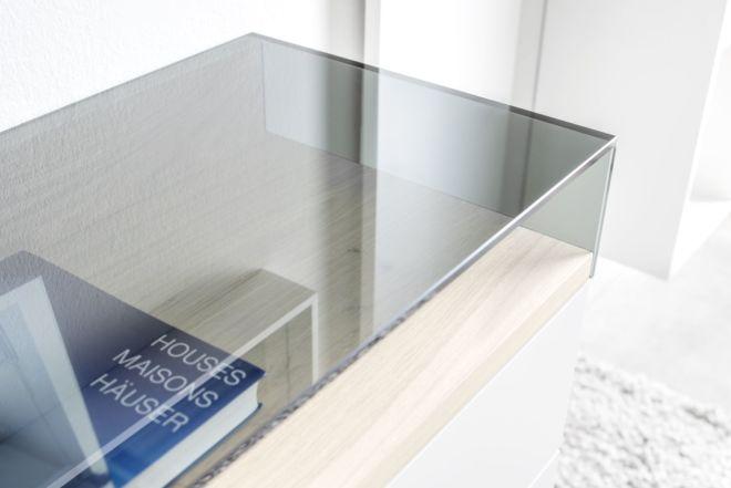 Garderobe Sudbrock Kaya Glasaufsatz Glasfach Ablage Flur Diele Eiche Lack