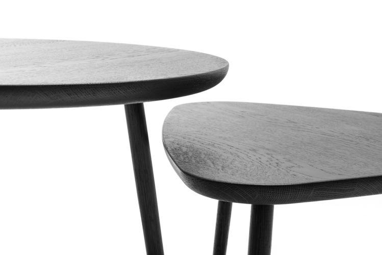 Sudbrock MELLINI Beistelltisch Tisch Couchtisch Eiche massiv dreieckig rund schwarz braun
