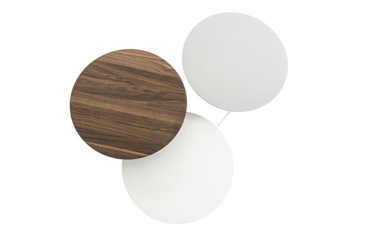 Sudbrock MELLINI Beistelltisch Tisch Couchtisch Lack Nussbaum massiv rund grau