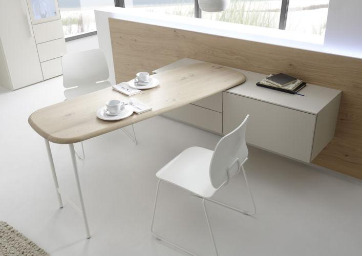 Sudbrock Home Office Büro Apartment Aufsatzschreibtisch Eiche Tischplatte Abschrägung Tisch Schreibtisch drehbar Metallgestell MELLINI