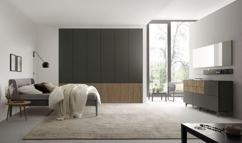 Kleiderschrank MIRIA Schrank Sudbrock Drehtürenschrank Rillen geriffelt braun Nussbaum schwarz Schlafzimmer Milieu Sideboard Bett