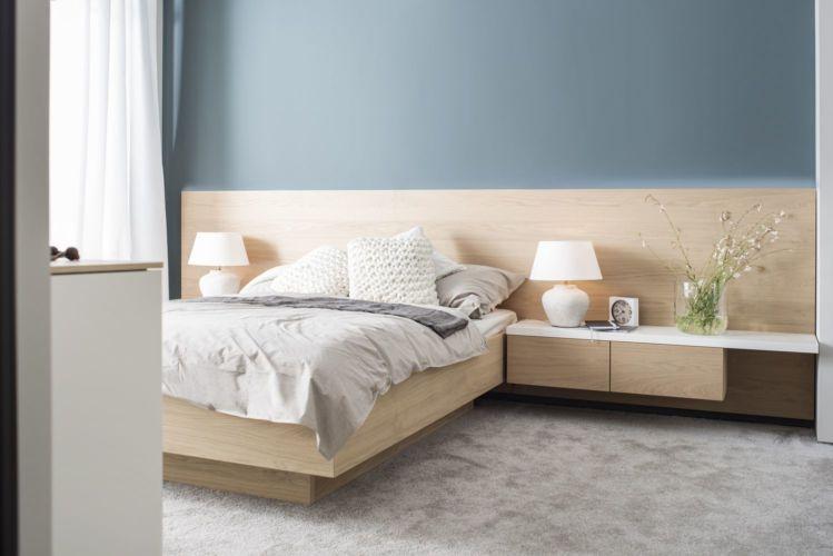Bett MIRIA Schlafen Sudbrock Eiche Beimöbel Nachtkonsolen Wandpaneel Doppelbett Holz Paneel