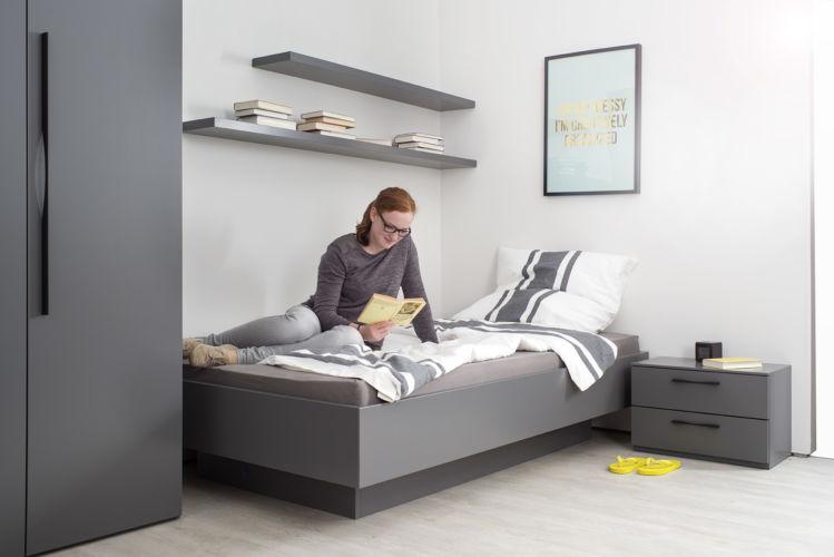 Bett MIRIA Schlafen Sudbrock Lack grau Beimöbel Nachtkonsolen Einzelbett