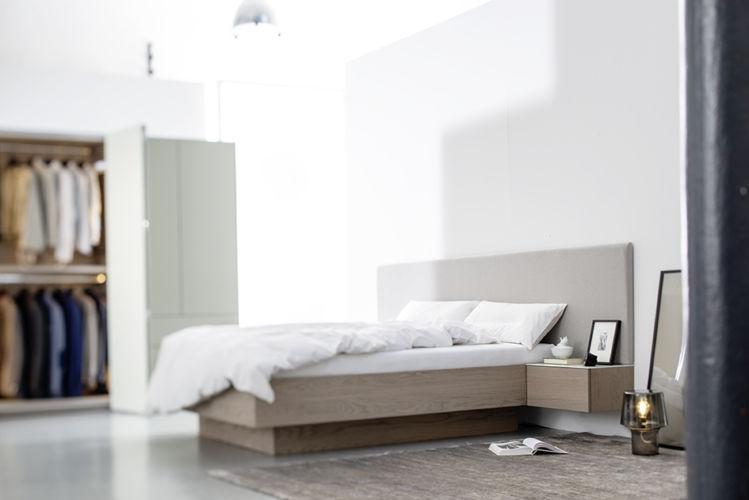 MIRIA Schrank Bett Sudbrock Eiche braun Kopfteil gepolstert Polsterkopfteil Paneel Nachtkonsole Doppelbett