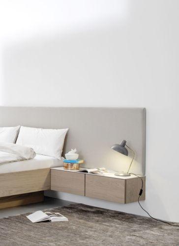 MIRIA Schrank Bett Sudbrock Eiche braun Kopfteil gepolstert Polsterkopfteil Paneel Nachtkonsole Doppelbett Nachtkonsole Nachtschränkchen