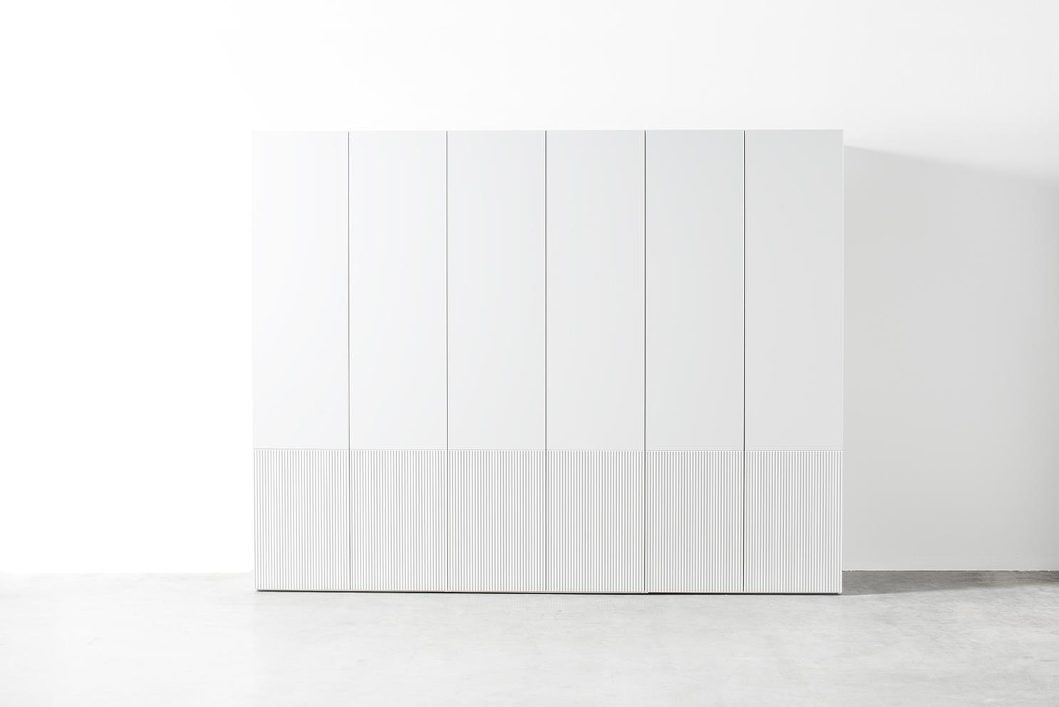 Kleiderschrank MIRIA Schrank Sudbrock Drehtürenschrank Rillen geriffelt weiß Schlafzimmer