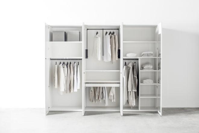 Kleiderschrank MIRIA Schrank weiß Sudbrock Drehtürenschrank Schlafzimmer Kleiderlift Innenspiegel Zubehör Inneneinteilung Innenausstattung
