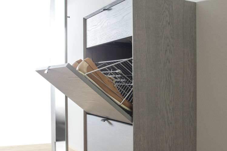 Garderobe Sudbrock MODO Flur Diele Eiche grau Spiegel Wandgarderobe wandhängend