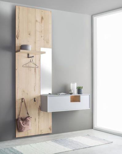 Garderobe Sudbrock MODO Flur Diele Eiche Wandpaneele Spiegel wandhängend raumhoch Raumhöhe