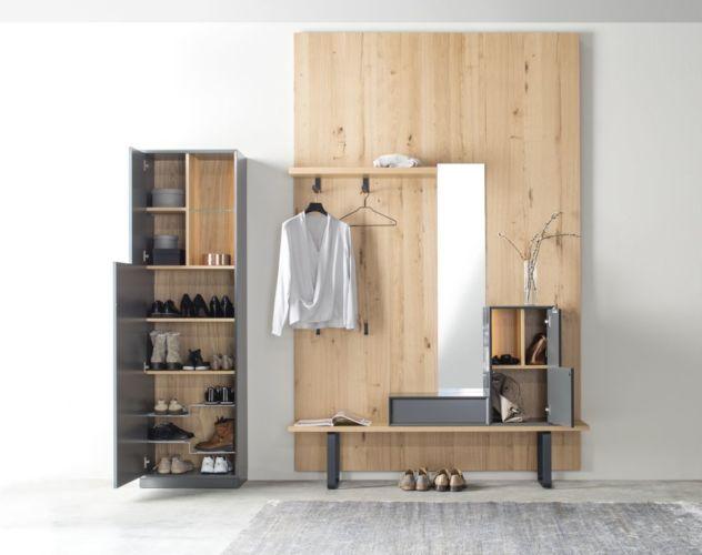 Garderobe Sudbrock MODO Flur Diele Eiche Wandpaneele Spiegel wandhängend raumhoch Raumhöhe Bank Sitzbank Schuhschrank