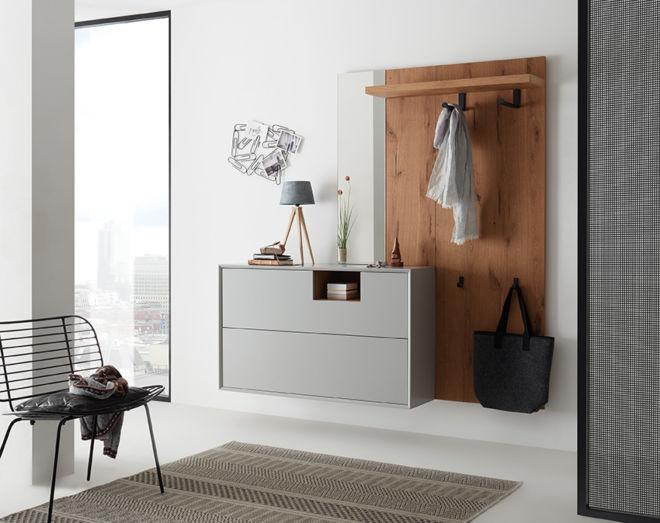 Garderobe Sudbrock MODO Flur Diele Eiche grau Spiegel Wandgarderobe wandhängend Schuhschrank Garderobenpaneel