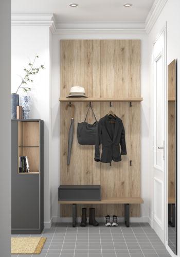 Garderobe Sudbrock MODO Flur Diele Eiche Wandpaneele Spiegel wandhängend raumhoch Raumhöhe Schuhschrank