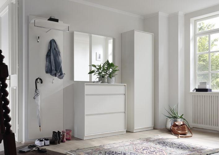 Garderobe Sudbrock PANAMA wandhängend Lack Spiegel Rahmenkante Schuhschrank Garderobenpaneel