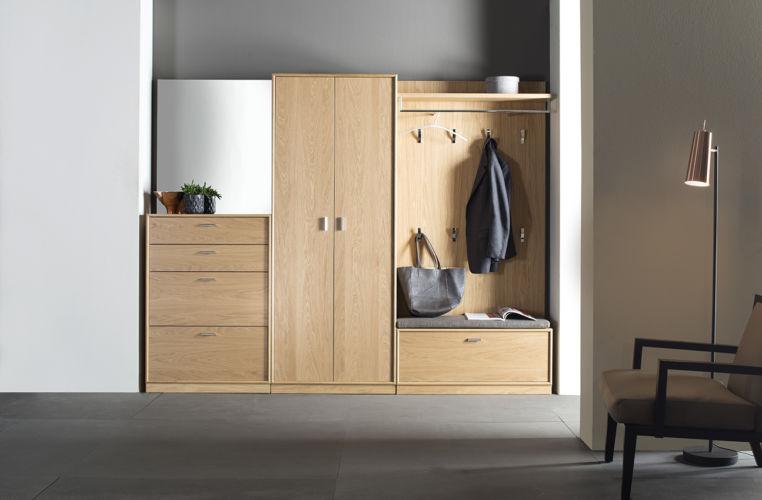 Garderobe Sudbrock PANAMA Einbau Eiche Spiegel Rahmenkante Schuhschrank Garderobenpaneel