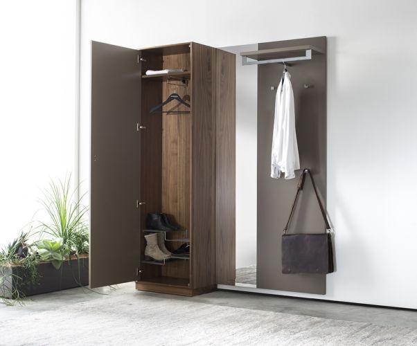 Garderobe Sudbrock PANAMA Lack Spiegel Rahmenkante Schuhschrank Garderobenpaneel Nussbaum