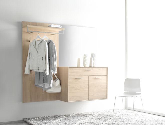Garderobe Sudbrock PANAMA Spiegel Rahmenkante Schuhschrank Garderobenpaneel Eiche Flur Diele